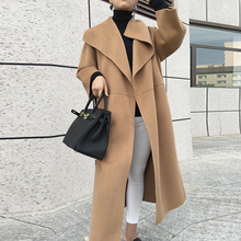 Long-Coat Silhouette Cashmere Wool Women Trench Double-Faced Nordic Side-Slit