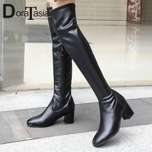 DORATASIA 2019 New Fashion Shoes Woman Boots Black Over The Knee Boots Sexy Female Lady Thigh High Boots Women Plus Size 34-45(China)