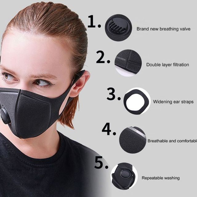 1PC Anti PM2.5 Black mouth Mask Anti Haze Anti-dust Mask Activated Carbon Filter Respirator bacteria proof Flu Face masks 2