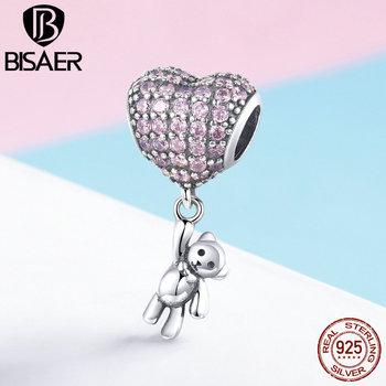 BISAER 925 srebro serce miłość kryształowy balon niedźwiedź wisiorki koraliki fit walentynki bransoletki srebro biżuteria ECC1054