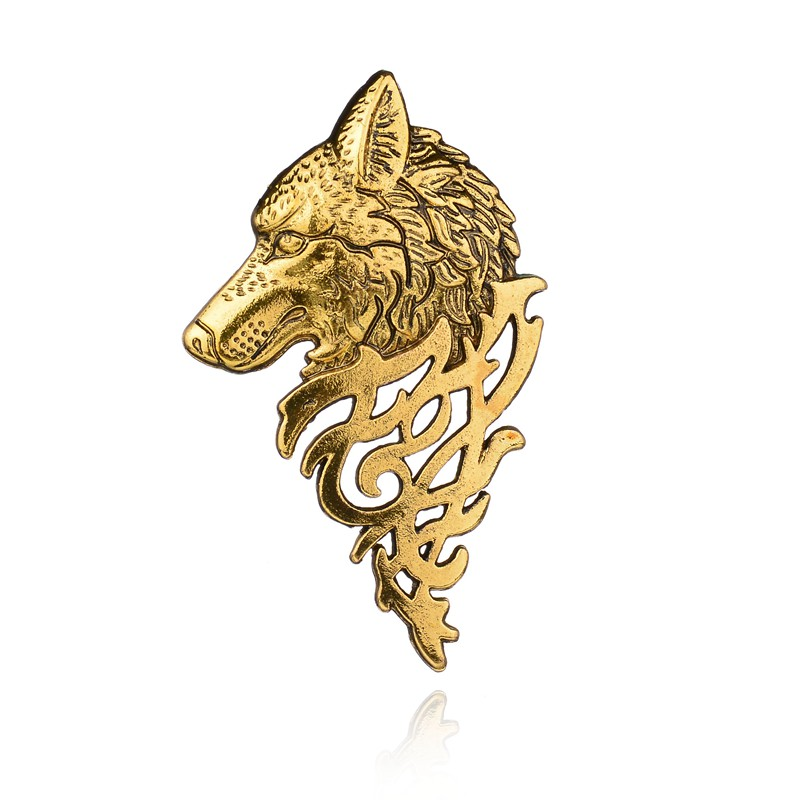 Gariton Vintage Head Brooches For Women Men Lapel Pin Wolf Collar Jewelry Brooch Pins Femme