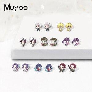 Anime Demon Slayer Kimetsu No Yaiba Kamado Tanjirou Kawai Acrylic Resin Earrings Kamado Nezuko Epoxy Acrylic Lovely Earrings(China)