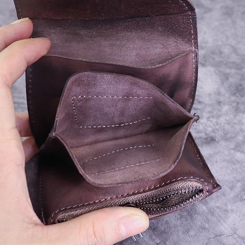 Genuine Leather Small Wallet Men Coin Bag Vintage Men Women Wallets and Purses Small Change Purse Carteira Feminina Men's Wallet
