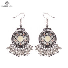 CARTER LISA Bohemian Vintage Ethnic Tibetan Silver Long Big Mixed Hollow Round Chandelier Earring Carved Dangle Earrings Women(China)