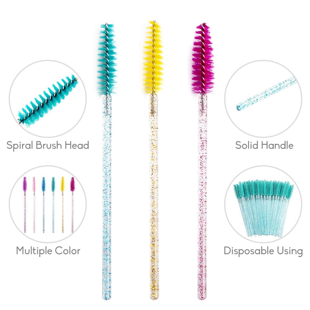 zwellbe Good Quality Disposable 50 Pcs/Pack Crystal Eyelash Makeup Brush  Diamond Handle Mascara Wands Eyelash Extension Tool 2