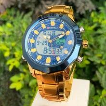 DUANTAI büyük kadranlı saat erkek spor saat paslanmaz çelik kuvars arka ışık altın kol saati çift ekran