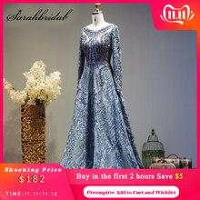 New Luxury Beading Long Sleeve Celebrity Dresses Dubai Arabic Muslim Robe De Soiree Lace Formal Evening Party Gown Vestido L5608