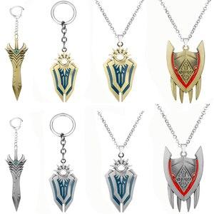 Leona Shield League Legend, игровые подвесные брелоки, металлические брелоки с мечом, LOL, ювелирные изделия, подарок для любителей