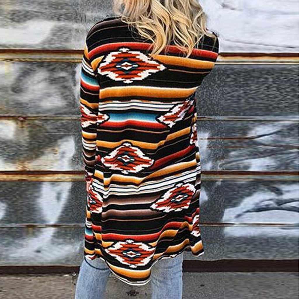 秋のファッションレディースロングジャケットヴィンテージプリントカーディガンカジュアル女性長袖ルーズ生き抜くロングジャケットコート服