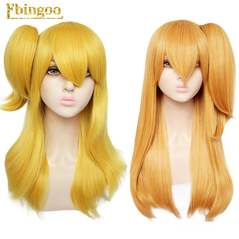 Ebingoo головной убор + парик в стиле аниме Сказочный хвост Lucy Heartfilia синтетический парик для косплея оранжевый желтый длинный прямой костюм