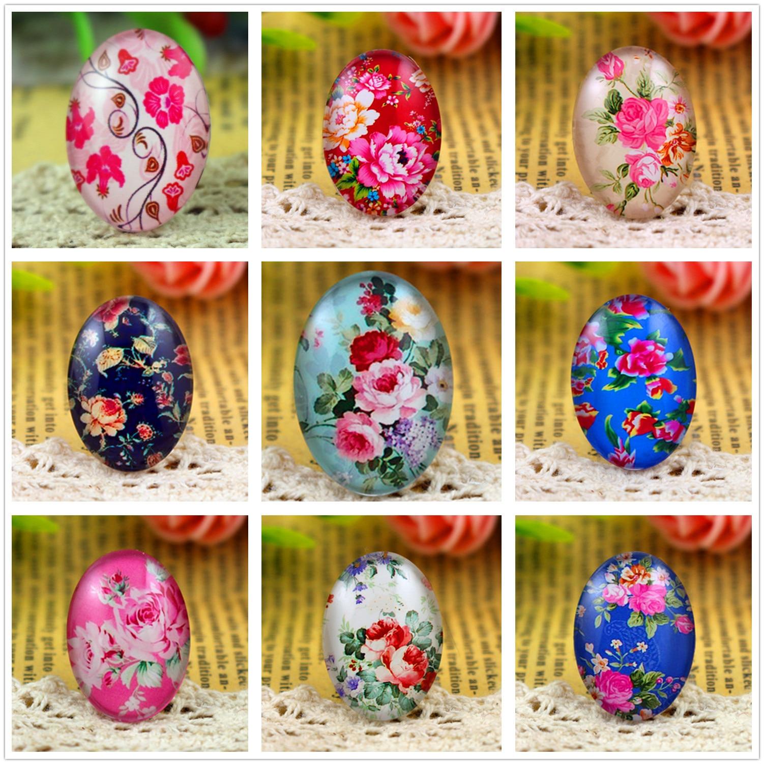 Hot Sale 10pcs 18x25mm 9 Style Flower  Handmade Photo Glass Cabochons