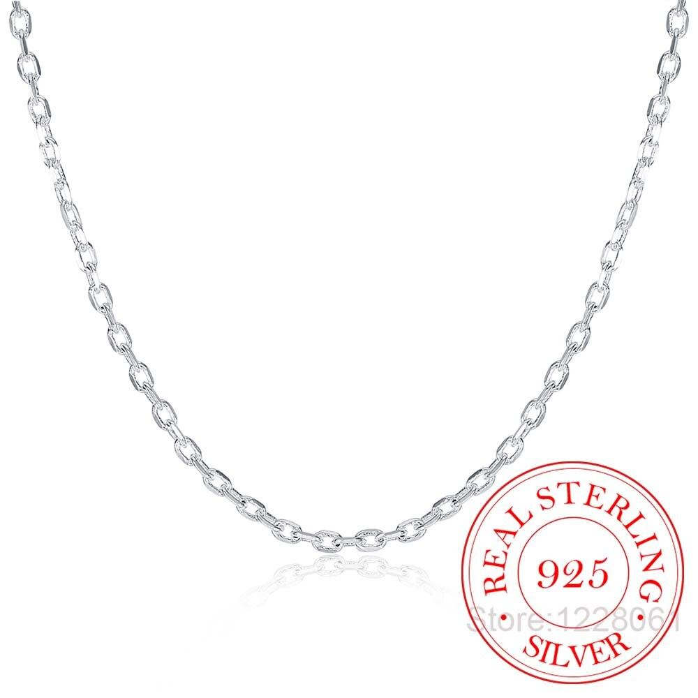 Женское Ожерелье с плоской цепочкой ROLO, изящное серебряное ожерелье 2 мм шириной 16, 18, 20, 22, 24 дюймов, ювелирное изделие в стиле «Холодное сердце» из стерлингового серебра, размер цепочки 2 мм Ожерелья      АлиЭкспресс