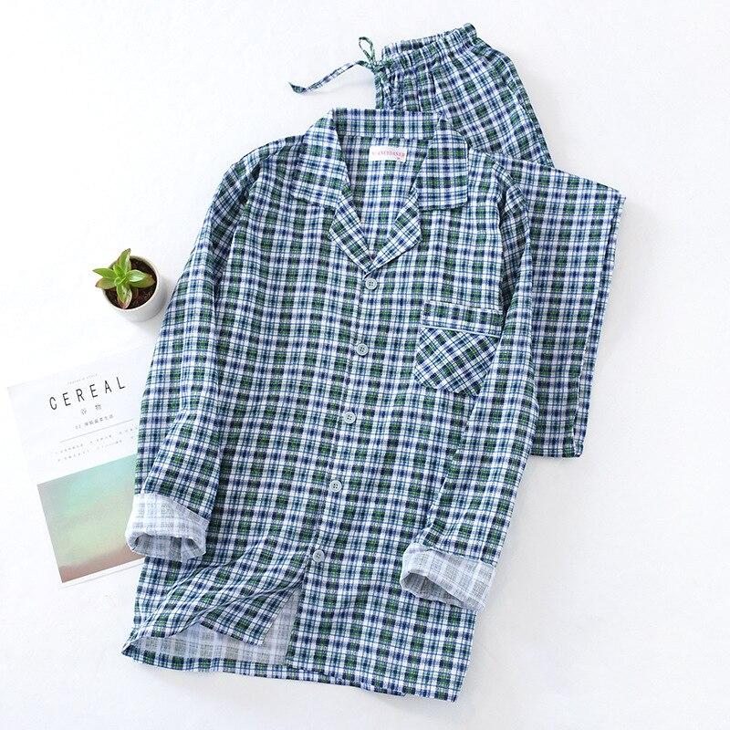 Pajamas Sleeping Suits For Men Spring And Autumn Thin Pajamas Pants Casual Plaid Cotton Gauze Long Sleeve Home Sleepwear Set