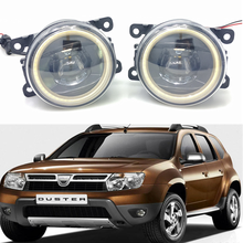 цены For Renault Duster Closed Off-Road Vehicle 2012-2015 Car styling New Led Fog Lights 30W DRL Angel Eyes Fog Lamp 2pcs