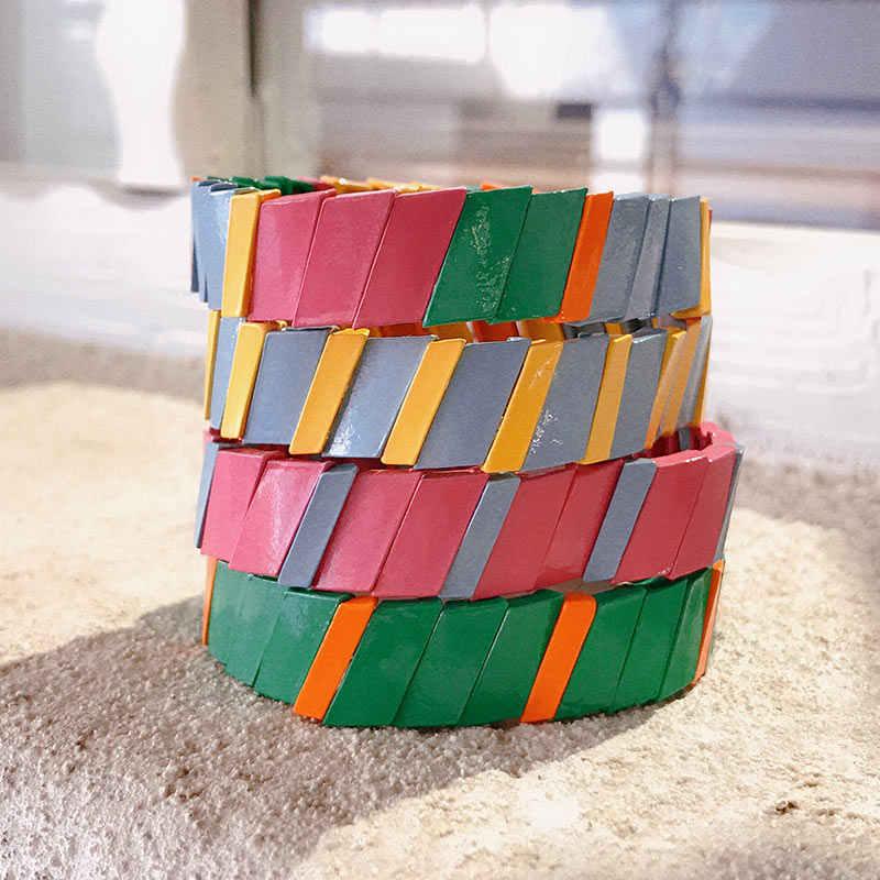 Flatfoosie New Arrival Boho Enamel Bracelets For women Tile Stacking Braslet Multicolor Rainbow Elasticity Bangles Femme 2019