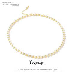 Yhpup 5-6mm Freshwater Natural Pearl Collar Necklace for Women Exquisite Luxury Necklace Anniversary Jewelry Bijoux Gift 2020