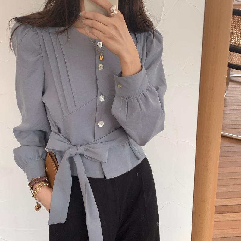 HziriP 2020 All-Match Elegant Lace-Up Bow Blouses Girls Loose Office Lady Tops Women Stylish Basic Autumn Casual Female Shirts