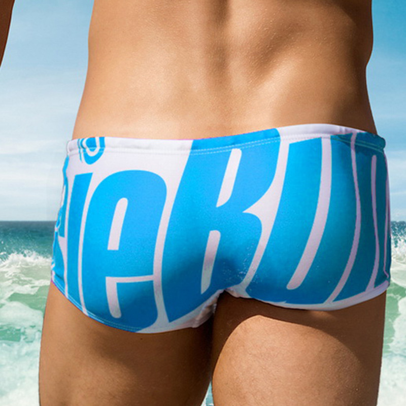 Aussiebum Trendy Letters Swimming Trunks Swimming Shorts MEN'S Swimming Trunks MEN'S Swimming Trunks Sexy Boxer Swimming Trunks