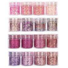 ชุด4 10Ml ChunkyสีชมพูSeriesเล็บGlitter Powder Sequinsผงสำหรับเล็บตกแต่งGradientชุดUltra Fineเล็บGlitter