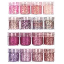 Set Van 4 10Ml Chunky Roze Serie Nail Glitter Poeder Pailletten Poeder Voor Nail Art Decoratie Gradiënt Set Ultra Fine Nail Glitter