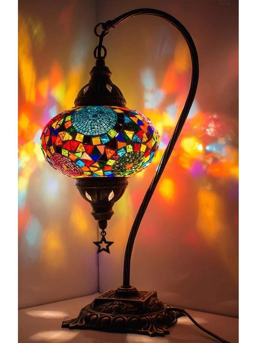 Türk mozaik lamba kuğu boyun fas marakeş lamba cam türk ışıkları Tiffany  başucu masa türk lamba türkiye'de yapılan|Table Lamps