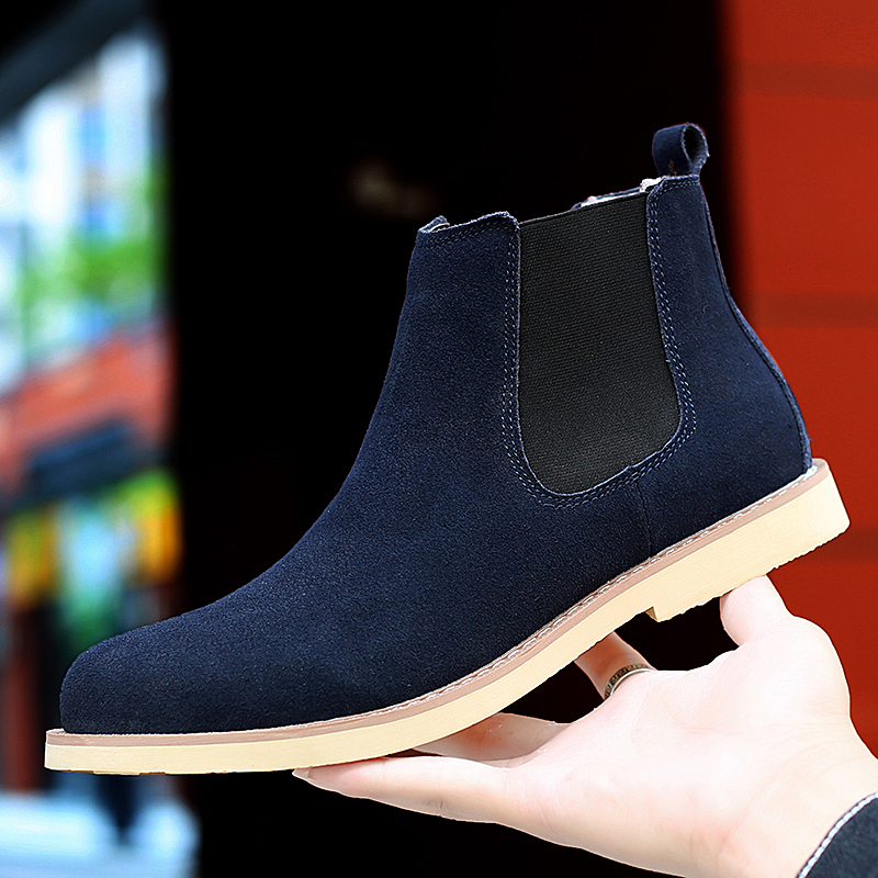 2019 Winter Blue High Quality Leather Chelsea Boots Men Casual Boots Shoes For Male Botas Zapatos De Hombre Chaussure Homme
