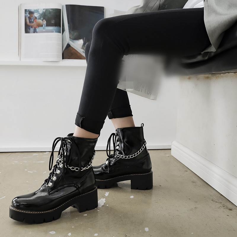 Gothic Punk Lace Up Boots Chains Cross Strap Block High Heel Womens Shoes Black Goth Platform Rock Military Combat Shoes