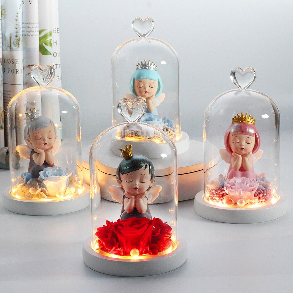 Подарок на день Святого Валентина, Красавица и чудовище, Розовый Ангел в стеклянном куполе, деревянная подставка для украшения вечеринки, ц...