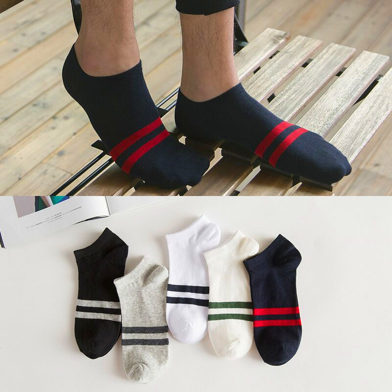 5pairs Unisex Men Women Socks Cotton Solid Color Stripe Boat Socks All Seasons Male Casual Harajuku Breathable Ankle Sock Meias