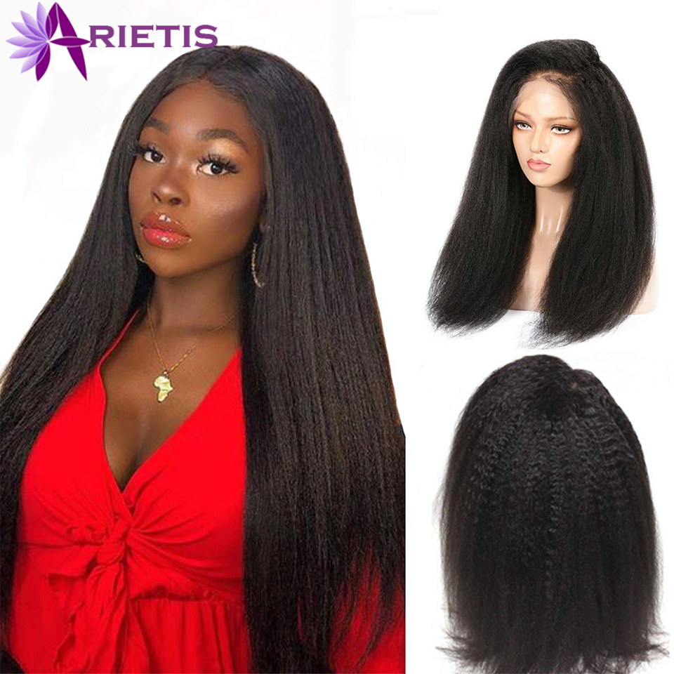 Kinky Straight Wig 360 Lace Front Human Hair Wigs For Women Pre Plucked With Baby Hair Brazilian Remy Indian Yaki Human Wig