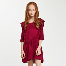 CupofSweet O neck Ruffled Front  Dress Shirt Girls Kids Clothing 2019 Summer Fashion 1/2 Cropped Sleeves Casual Girl Dresses