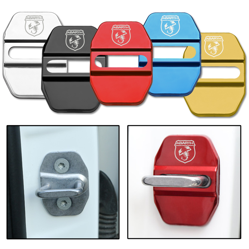 4pcs Auto Stainless Steel Door Protection Lock Cover For Fiat Abarth 500 500L 500X Viaggio Ottimo Bravo Car Styling