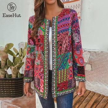 EaseHut Plus Size 5XL 6XL Coat for Women Ethnic Printed Cardigans  Autumn Thin Coats Long Sleeve O Neck Casual Loose Outwear New