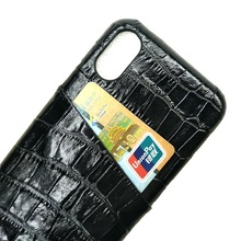 Solque Real Genuine Leather Mobile Phone Cases For iPhone X XS Max 10 Luxury 3D Crocodile Ultra Thin Card Slot Hard Back Cover