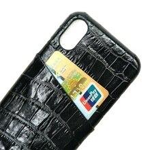 Solque אמיתי אמיתי עור מקרי טלפון נייד עבור iPhone X XS מקסימום 10 יוקרה 3D תנין Ultra דק כרטיס חריץ קשה בחזרה כיסוי