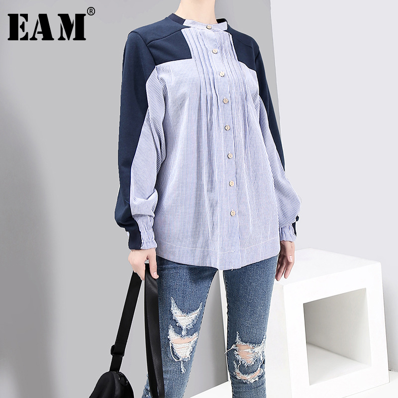 [EAM] Women Blue Striped Big Size Blouse New Stand Collar Long Sleeve Loose Fit Shirt Fashion Tide Spring Autumn 2020 1B715