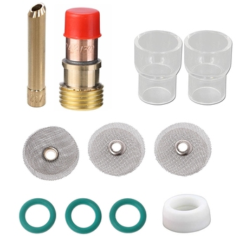TIG Welding Torch 3/32 inch 2.4mm Gas Lens 12 Pyrex Cup Kit for WP-17/18/26 - discount item  21% OFF Tool Parts
