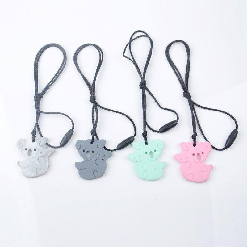 4PCS Koala Teething Necklace Silicone Baby Teethers Chewable Pendant Charm Toys Silicone Beads Gift