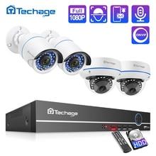 Techage H.265 8CH 1080P POE NVR ערכת אבטחת CCTV מערכת כיפה מקורה חיצוני 2.0MP אודיו מצלמה P2P Onvif וידאו מעקב סט