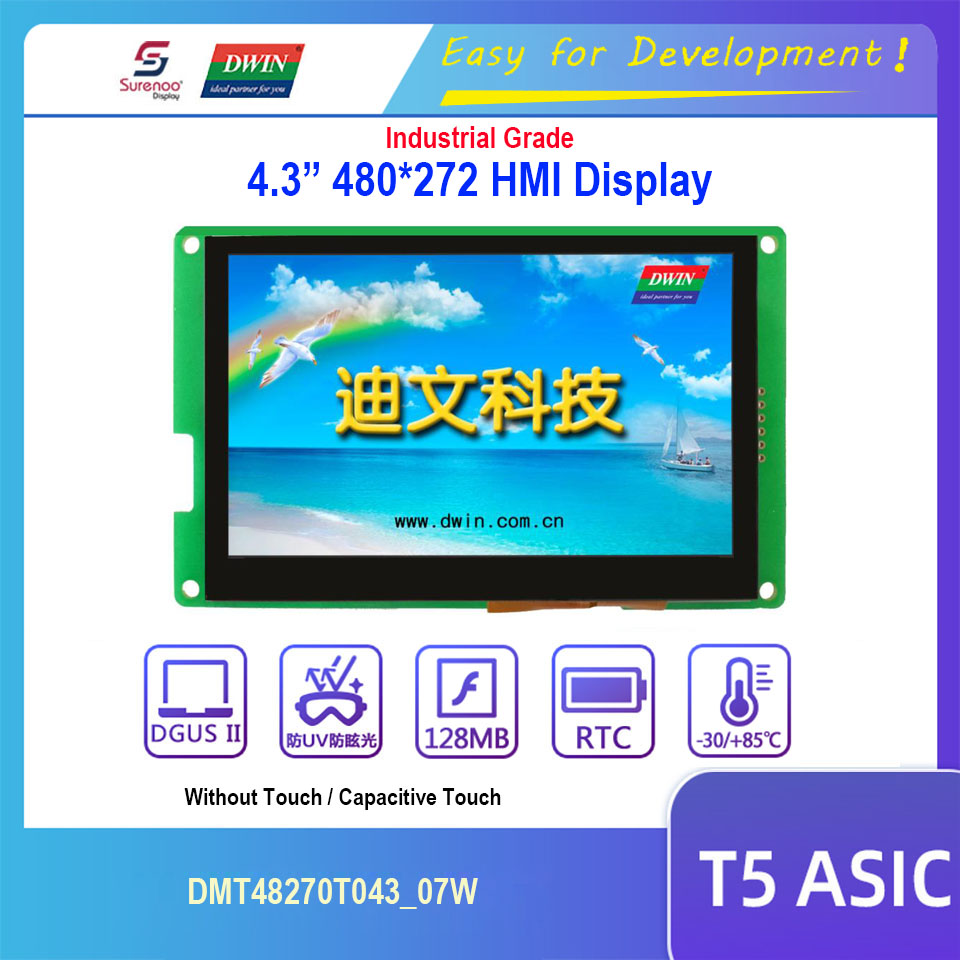 Dwin T5 HMI Display, 4.3 480X272 DMT48270T043_07W TTL LCD Module Screen with Capacitive Touch Panel & Support Audio out image