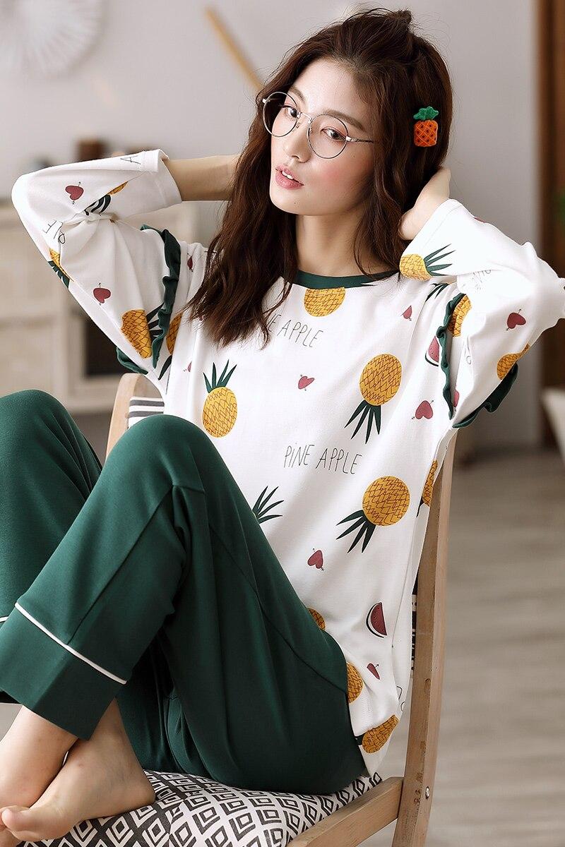 Image 5 - Woman Pajamas Sets Fashion Pajamas Autumn Winter Women Cotton Pajama Sets Cartoon Home Wear Suits Long Sleeves Pajamas for FemalPajama Sets   -