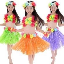Гавайские вечерние украшения для взрослых, Пляжное цветочное ожерелье, венок хула, гавайская юбка, платье для детей, костюм для девочек, товары для дня рождения