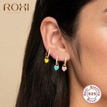 ROXI – jolies boucles d'oreilles en forme de cœur pour femme et fille, en argent Sterling 925, rondes, en rose, bleu, vert, Cartilage