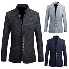 Men 's Suit Blazer Groomsmen Business Suit Jacket Solid Color Long Sleeve Stand Collar Single-breasted Plus Size Slim Blazer