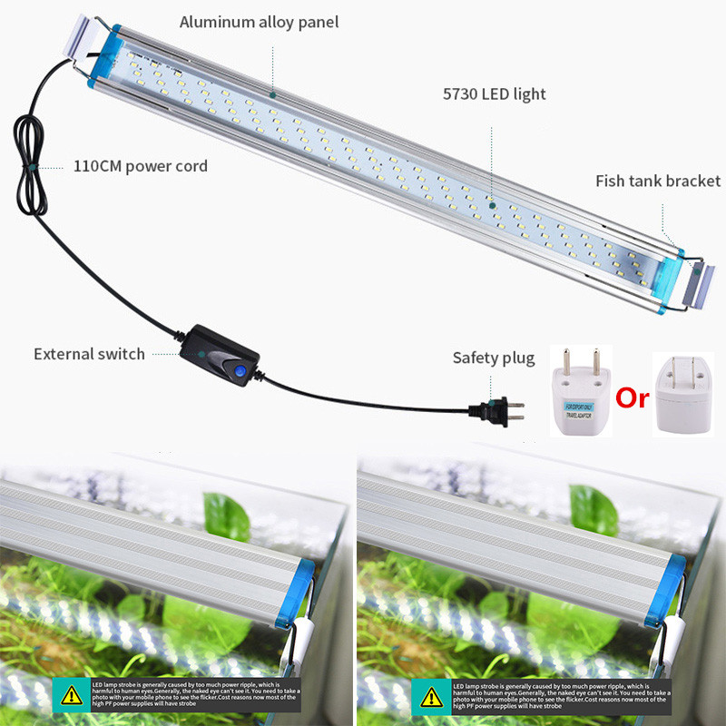 Aquarium LED Lighting  EU/US Plug Plant Light Plant Fish Tank LED Light Aquatic Slim Grow Lighting Lampe 18/28/38/48CM