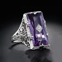 USTAR Big Square Purple Crystal Rings for women 2019 fashion wedding jewelry Silver Carving Engagement rings Female Anel gift