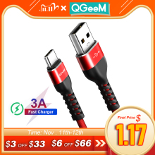 QGEEM USB Type C Cable USB C Mobile Phone Fast Charging USB Charger Cable for Samsung Galaxy S8 Huawei Mate 20 Xiaomi USB Type C
