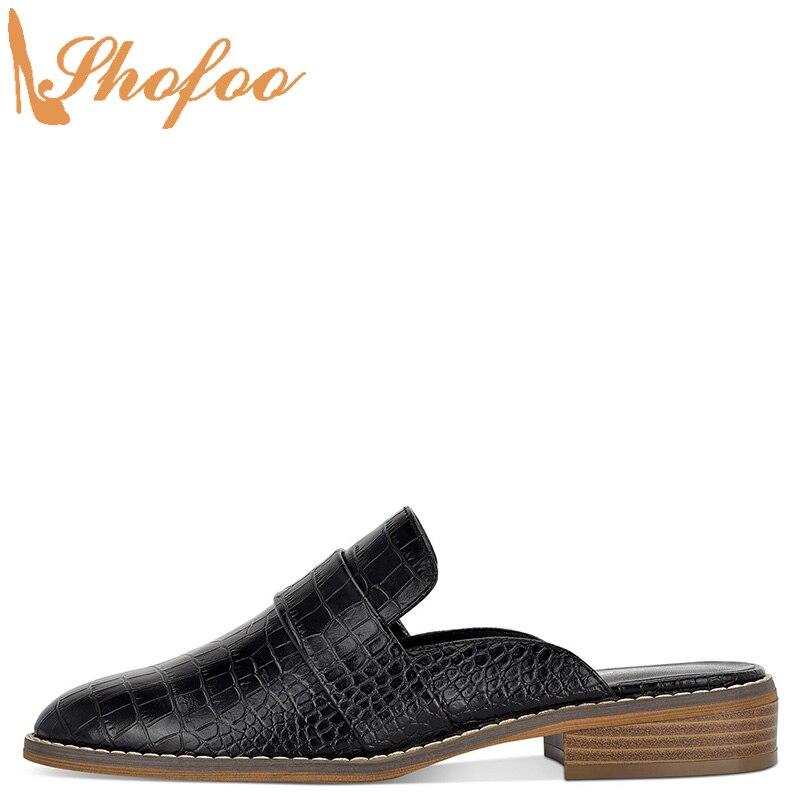 Croc en relief femmes Mules à l'extérieur pantoufles chaussures bas talons épais grande taille 14 16 dames mode mocassins Cascual Mature Shofoo