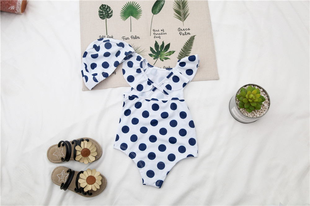 Micro For 2019 New Style Girls Solid Color Blue With Dots Cute Korean-style One-piece Swimming Suit Wf263