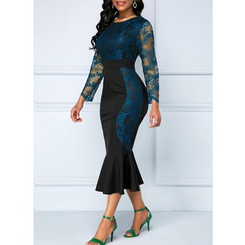 Autumn Winter Dress Women 2019 Casual Plus Size Slim Office Bodycon Dresses Vintage Elegant Sexy Lace Long Mermaid Party Dress 4
